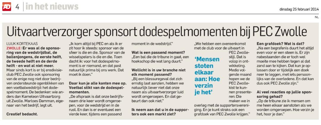 Kameleon Uitvaartzorg in het Algemeen Dagblad