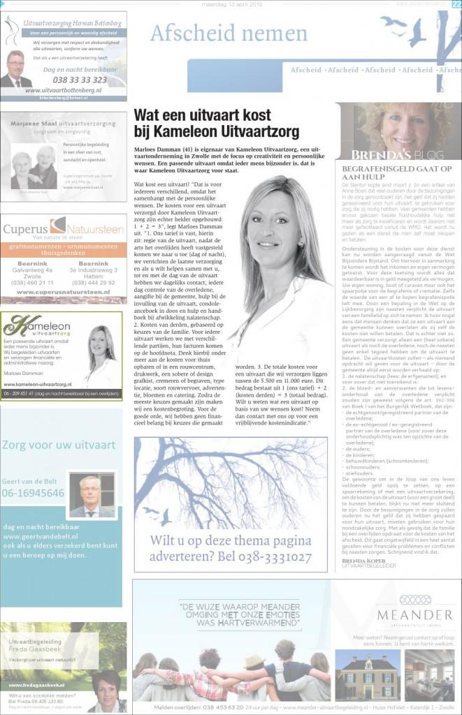 Swollenaer editie 13 april 2015, Kameleon Uitvaartzorg pagina 21